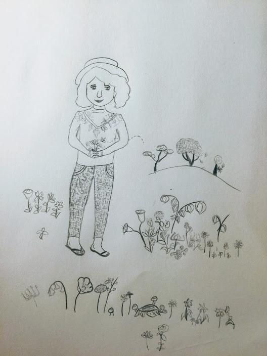 秘密の庭で花を摘むおばあちゃん。