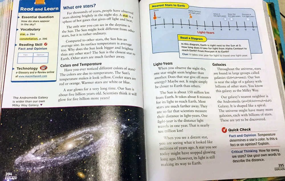 4th grade science textbook (light years and galaxies)