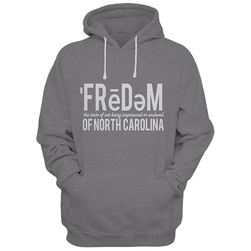 Freedom Of NC Grey and White Hoodie