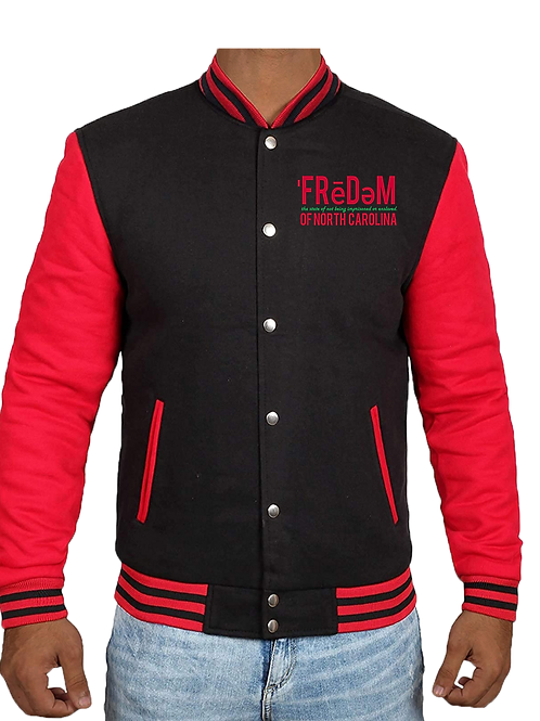 Freedom Of NC Red and Black Varsity Jacket