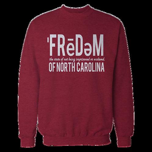 Freedom Of NC Burgundy Crewneck