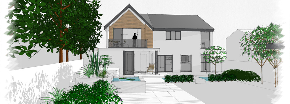 3D model of rear extension with sun room with balcony