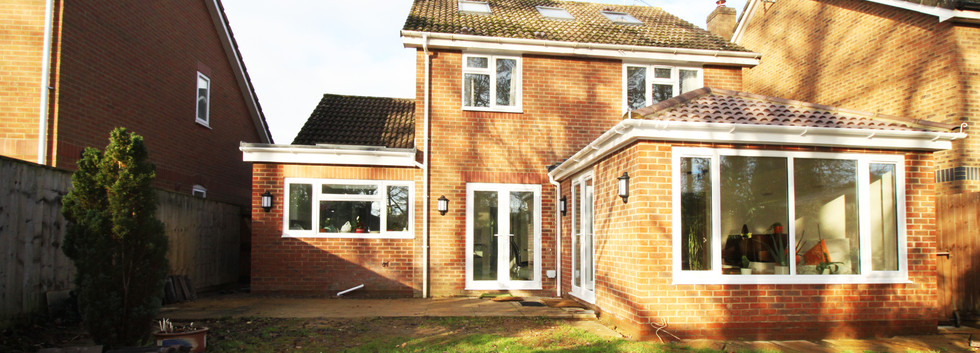 External view of infill extension and garden room