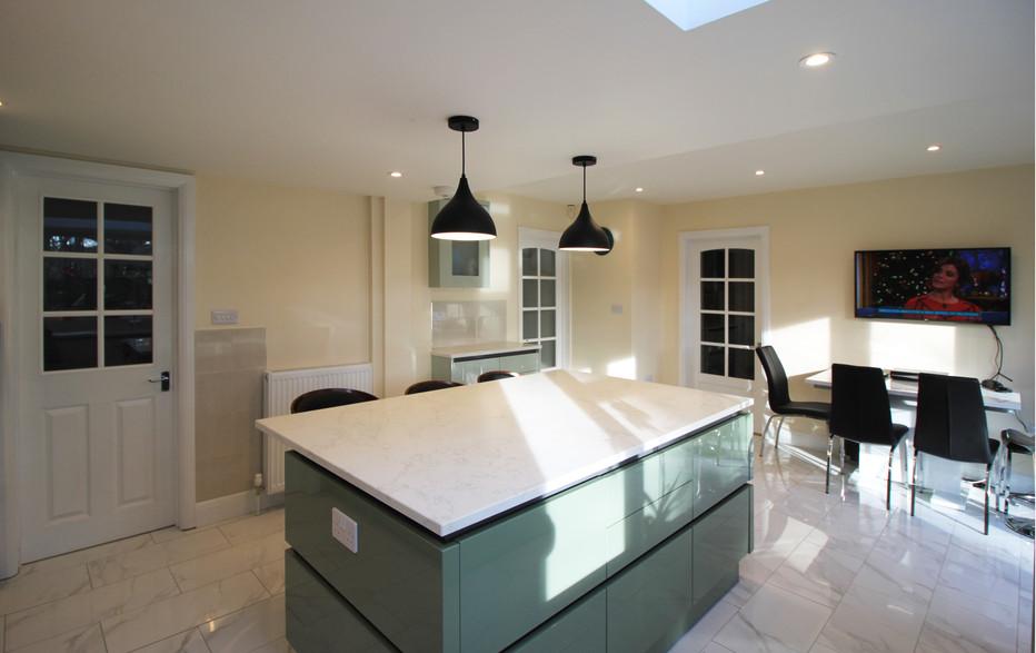 Kitchen island and pendant lights