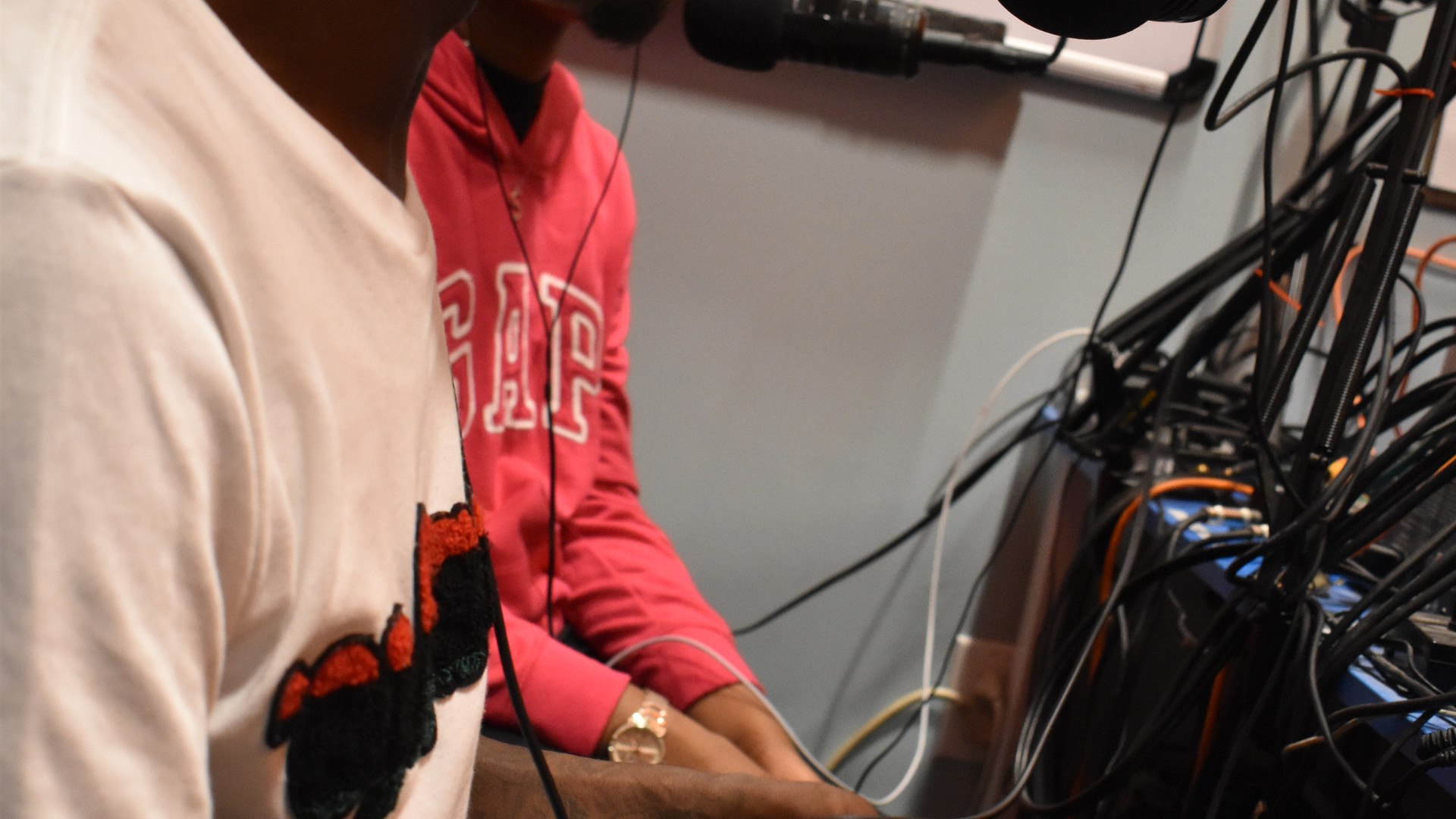 Young Boss Media in the recording room
