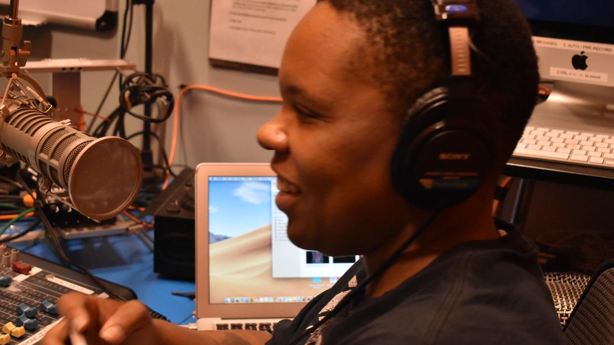 CEO Monica Grant in the recording room