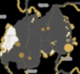 Map of Rwanda with refugee hosting hubs