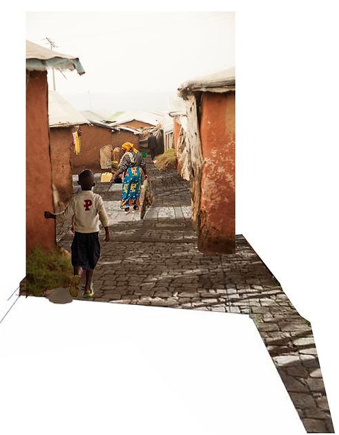Photomontage, paved pathways in Kiziba