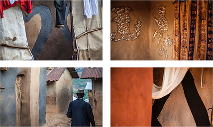 Existing mud decorations in the Congolese refugee camps in Rwanda.