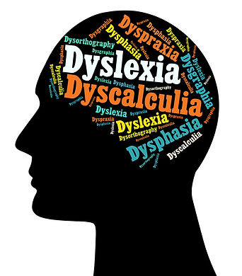 The brain as a word cloud with labels of different learning disorders.