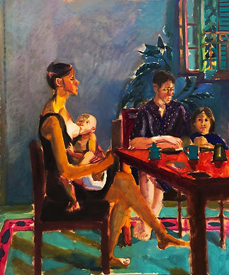 Mothers with sons, 150x 180 cm, oil canv