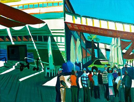 jaffa port, excursion, oil on canvas, 75
