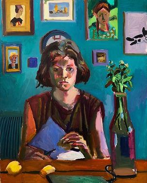 Ester with a scissors, 100 x 70 cm