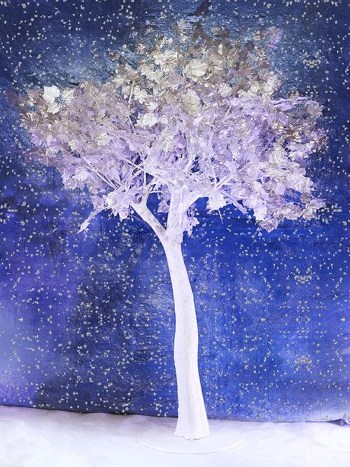 Аренда искусственного дерева Серебряное дерево на белом стволе 3 м.