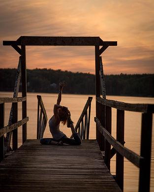sunset, yoga, pigoen pos, yoga teacher, ocean, dock, boat dock,
