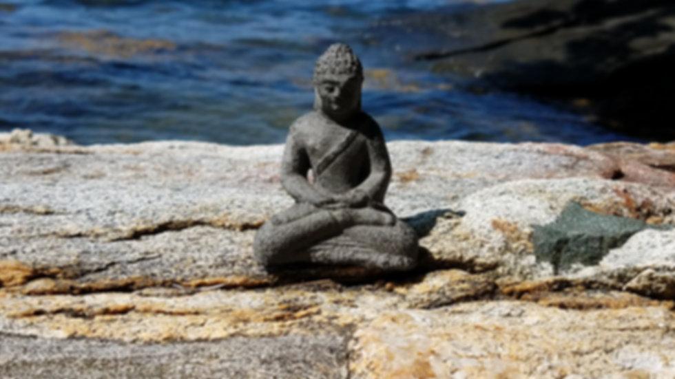 Buddha, ocean, rocks, beach