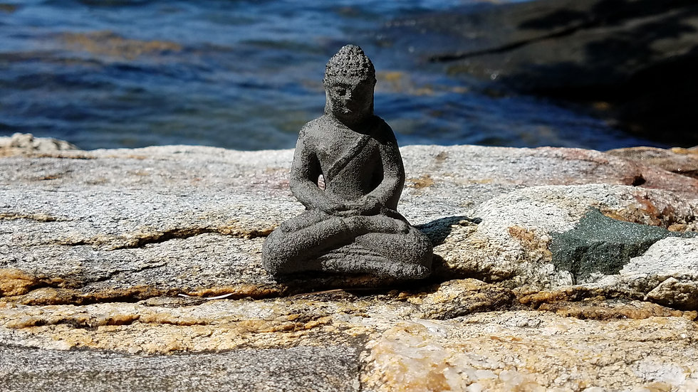 Buddha, ocean, rocks, beach