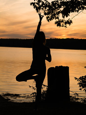 yoga, tree pose, sun set, ocean