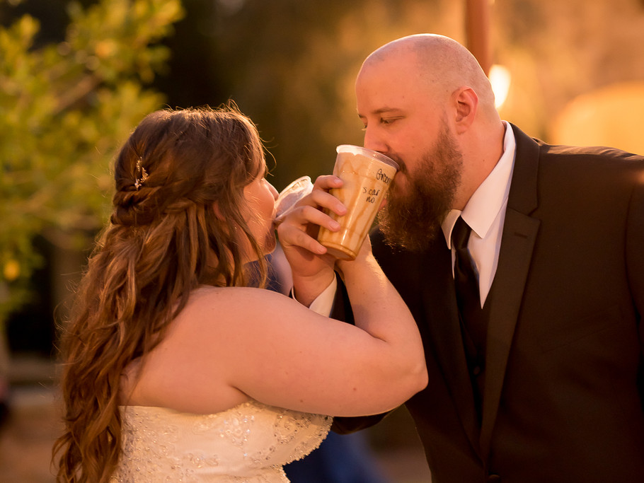 Bride and Groom Enjoy A Sweet Treat