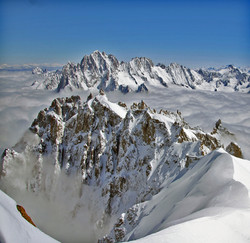 Peaks above the clouds at Chamonix
