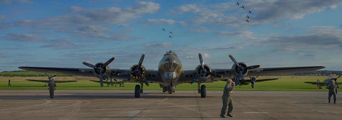 Sally B and 17 Spitfires 17x6