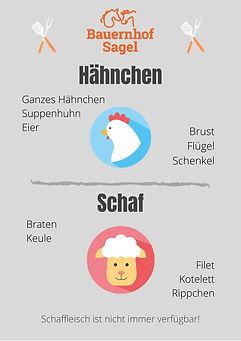 Einzelware Hähnchen und Schaffleisch