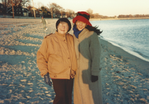 Beach fun for Ethel and daughter-in-law Josette.