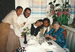 Ethel with daughters-in-law Sandra Dixon and Josette Owens, as well as Christopher and Geoffrey.