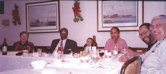 Ethel and fellow proud grandparents Sam and Winifred Dixon enjoy a meal with their first grandchild, Elijah, and his parents.  (Elijah did NOT have any wine!)