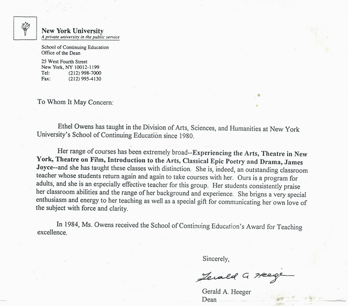 NYU Letter of Commendation