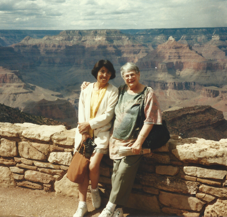 Two mothers-in-law enjoy the Grand Canyon.