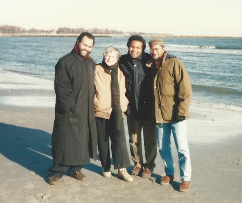 Mom & The Boyz on a Connecticut beach.
