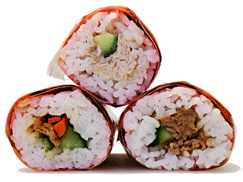 SUSHI HAND ROLL - TERIYAKI CHICKEN , TUNA, VEGGIE - (GF) - 30  ROLL Frozen Pack
