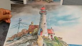 watercolor landscape adult