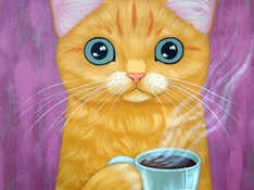 acrylic painting oil painting cat