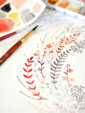 simple leaf wreath watercolor