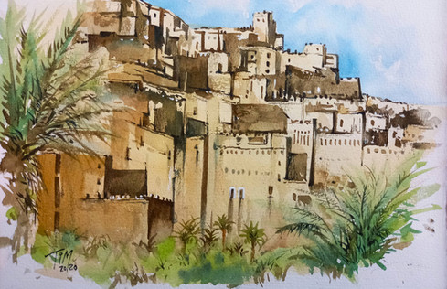Morocco old castle on mountain