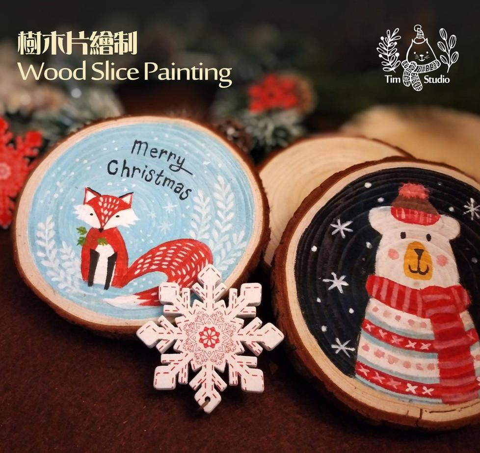 木片繪畫 wood painting coaster
