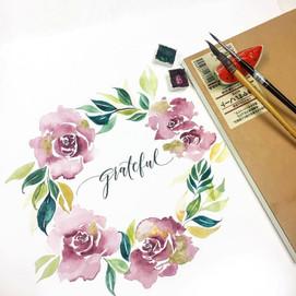 watercolor wreath-calligraphy