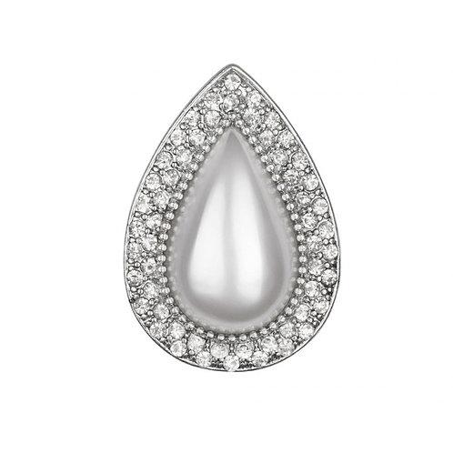 The Bardot Ring - White Pearl & Shiny Silver