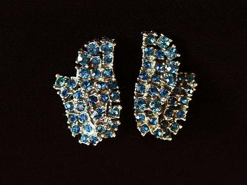 Blue Tulip Flower Clip On Earrings