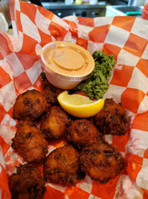 Conch fritters with Calypso sauce