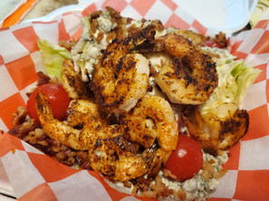 Wedge salad with blackened shrimp