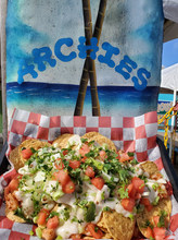 Archie's blackened shrimp nachos