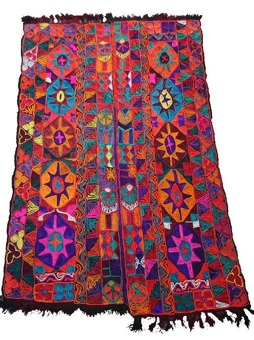 Bright multicoloured double Izar rug / marriage blanket