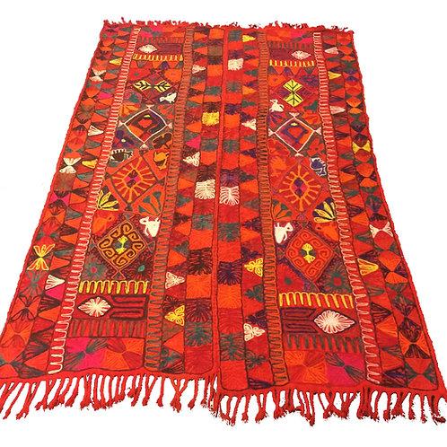 Bright orange double Izar rug / marriage blanket