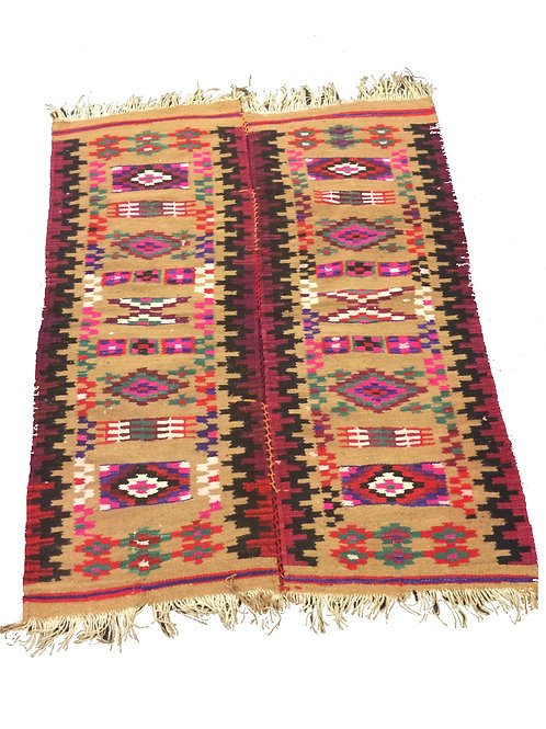 Brown and pink woven double rug