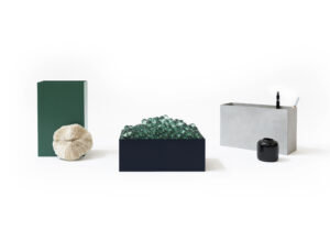 Console trays & flowerpots 'Atelier Belge' - (grey/green/blue)