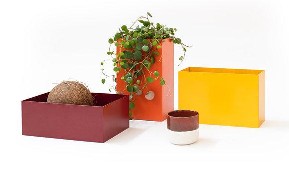 """Console trays & flowerpots """"Atelier Belge"""" - (red/yellow/orange)"""