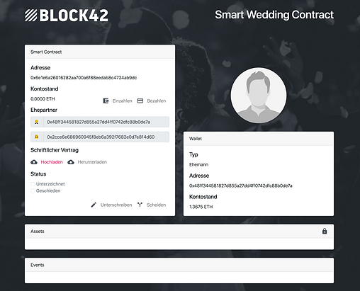 Smart Wedding Contract - Start page